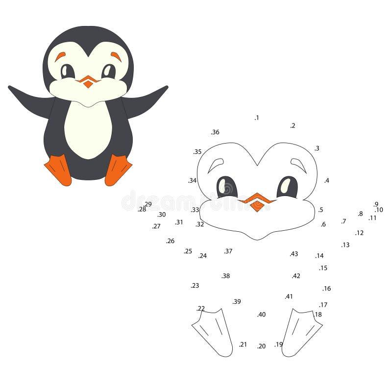 Conecte el ejemplo del vector del pingüino del juego de los puntos ilustración del vector
