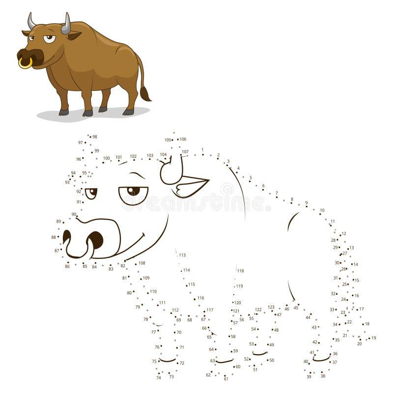 Conecte el ejemplo del vector del toro del juego de los puntos libre illustration
