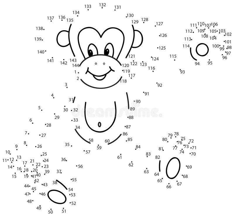Conecte el juego de los puntos: mono ilustración del vector