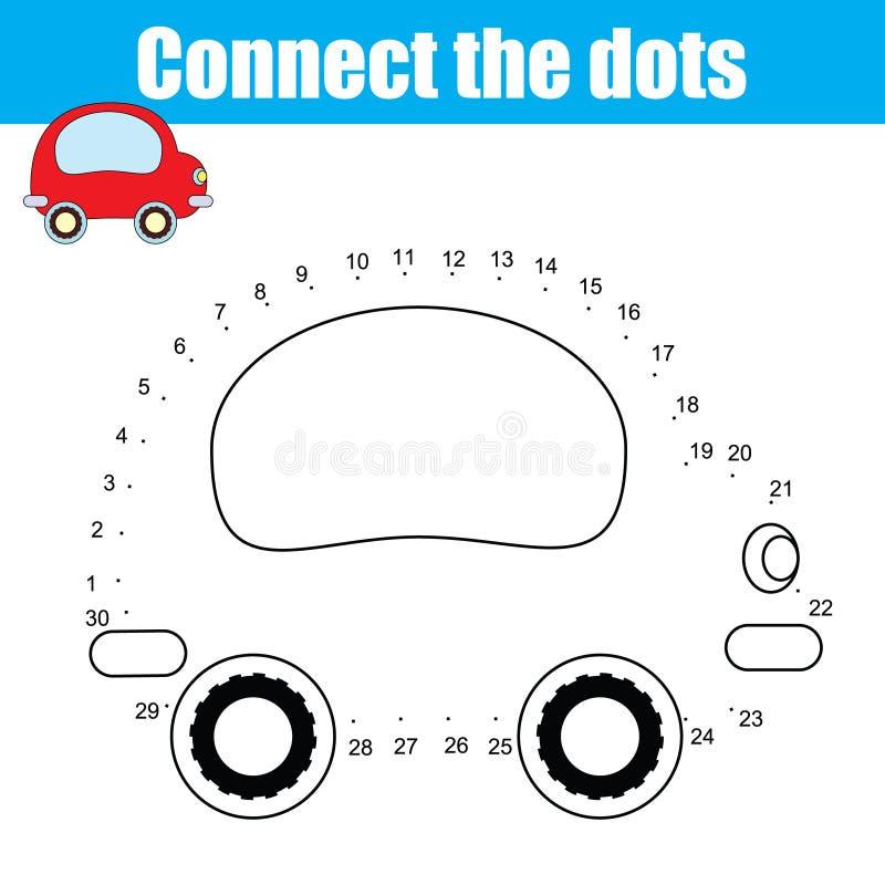 Conecte el juego educativo de los niños de los números de los puntos Actividad imprimible de la hoja de trabajo ilustración del vector
