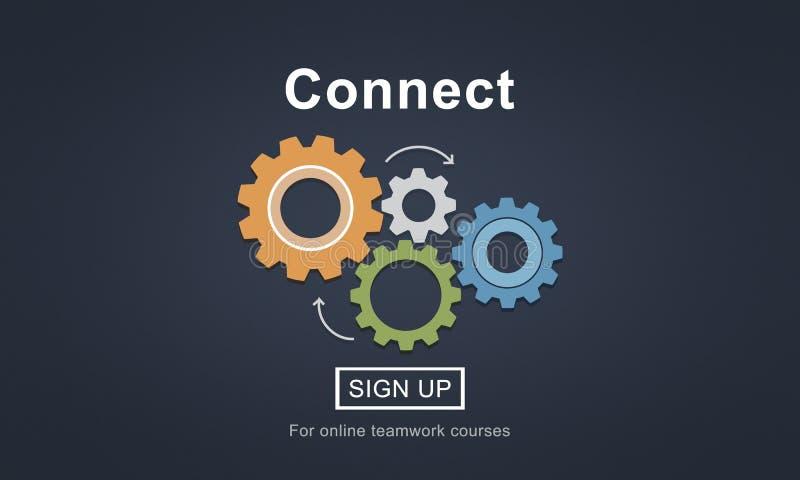 Conecte la interacción Team Teamwork Concept stock de ilustración