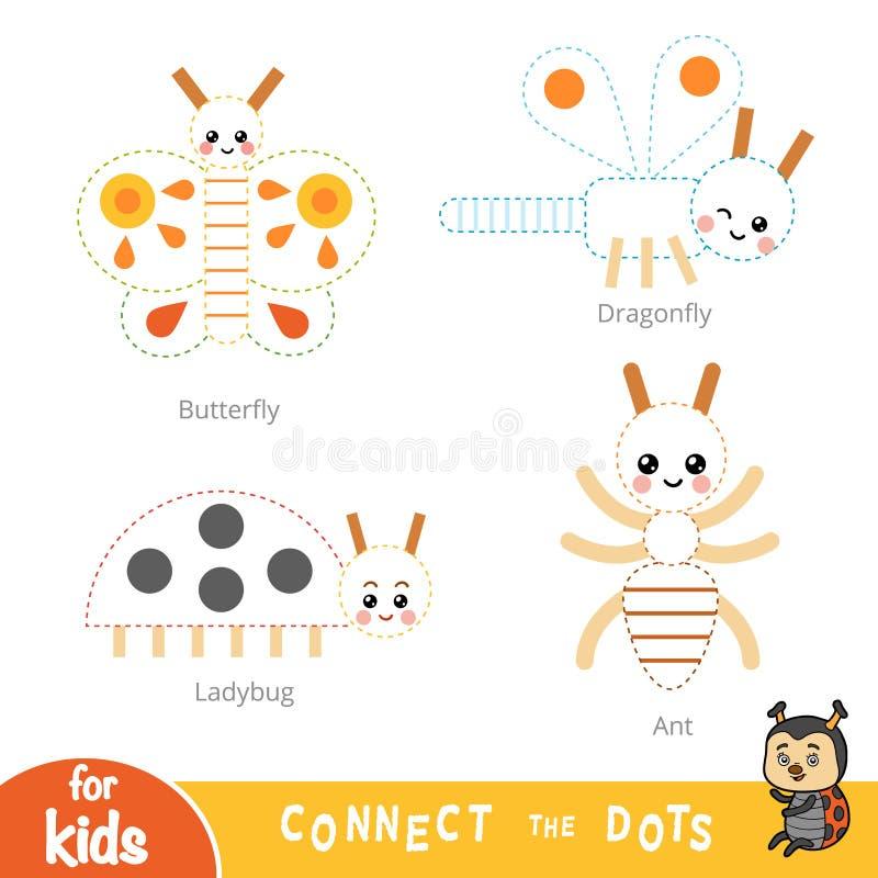 Conecte los puntos, juego de la educaci?n para los ni?os Conjunto de insectos libre illustration
