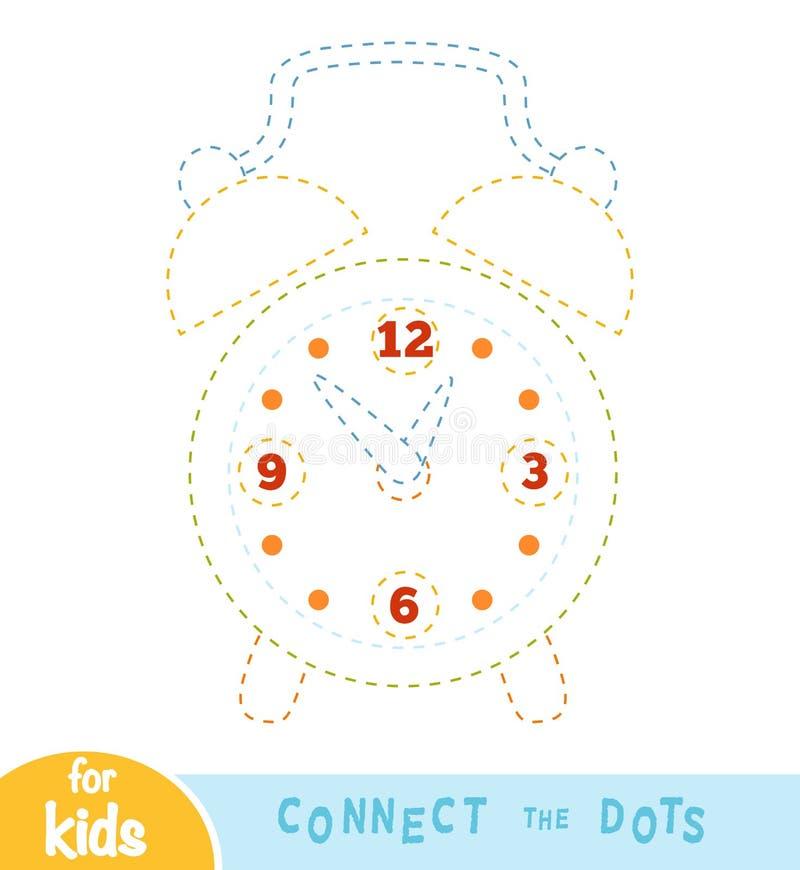 Conecte los puntos, juego para los niños, despertador stock de ilustración