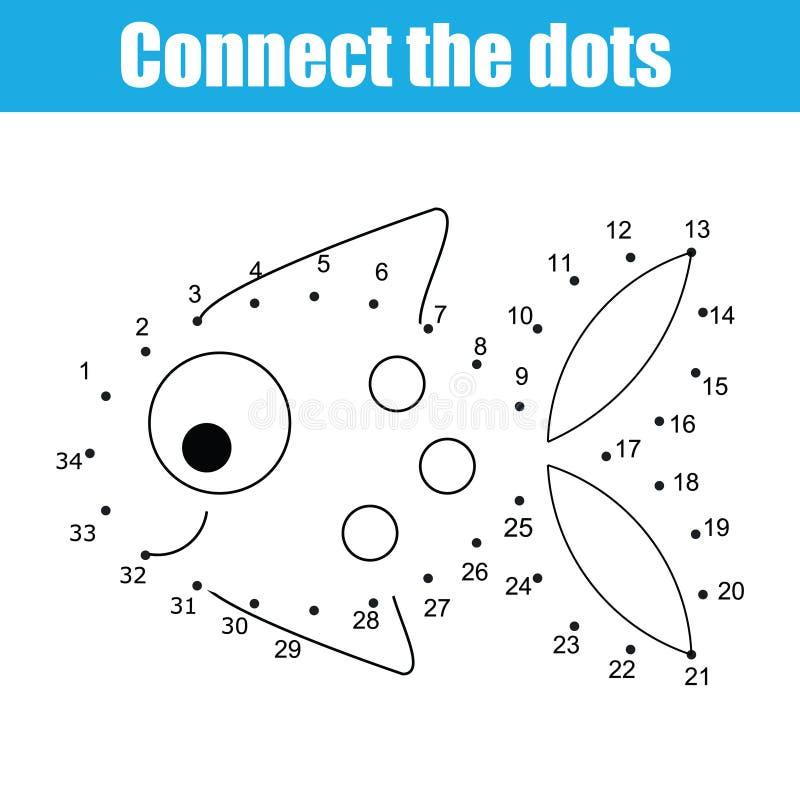 Conecte los puntos por el juego educativo de los niños de los números Actividad imprimible de la hoja de trabajo Pescado stock de ilustración