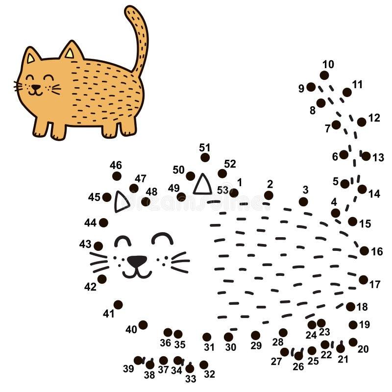 Conecte los puntos y dibuje un gato gordo divertido stock de ilustración