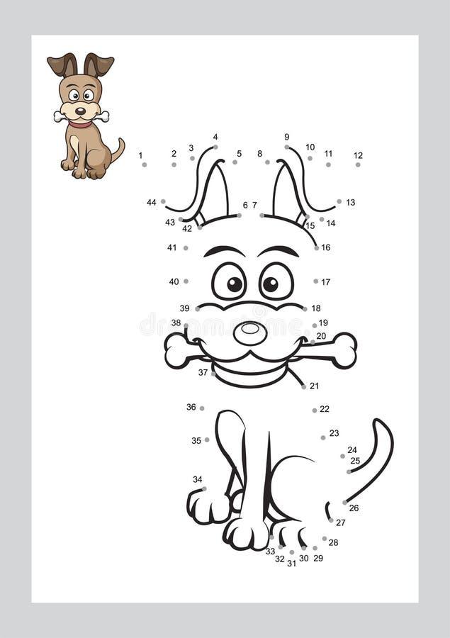 Conecte o jogo dos pontos e as páginas colorindo que aprendem o vetor imprimível da forma de forma livre no fundo foto de stock