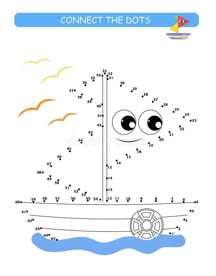 Conecte os pontos e colora-os Barco bonito Ilustração do vetor dos desenhos animados do jogo educacional ilustração royalty free