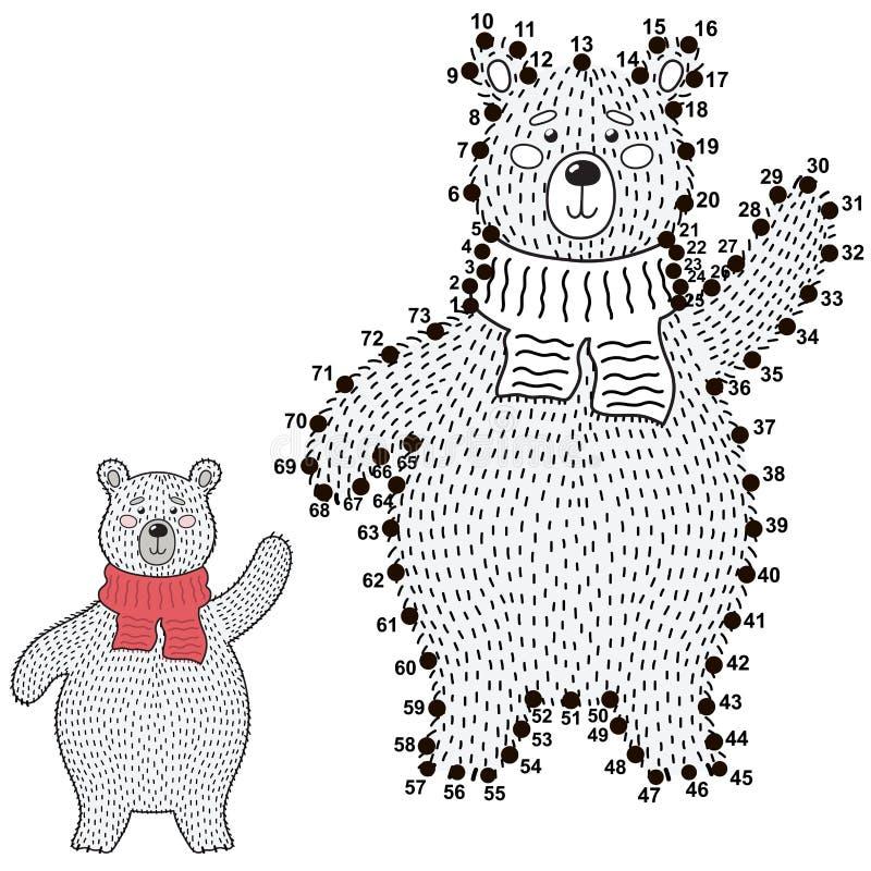 Conecte os pontos e tire um urso polar bonito ilustração do vetor