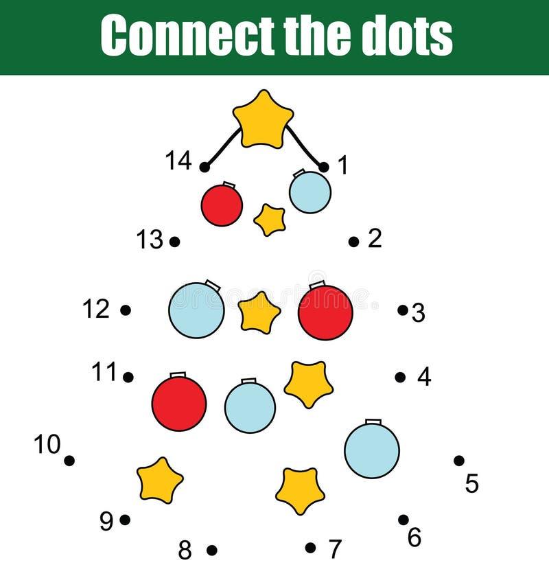 Conecte os pontos pelo jogo educacional das crianças dos números Atividade imprimível da folha Ano novo, tema dos feriados do Nat ilustração royalty free