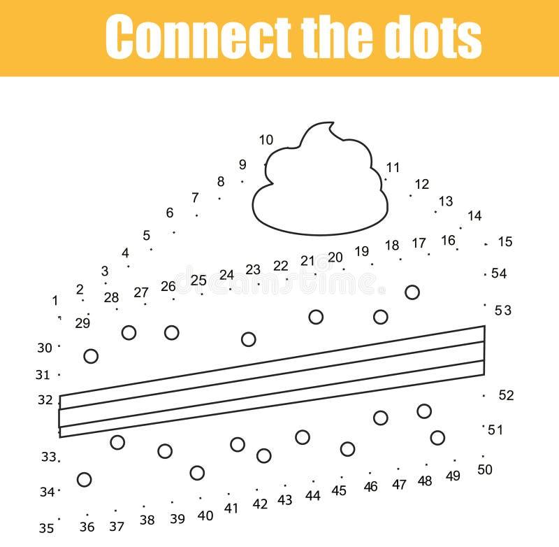 Conecte os pontos pelo jogo educacional das crianças dos números Atividade imprimível da folha Tema do alimento Bolo de tiragem ilustração royalty free