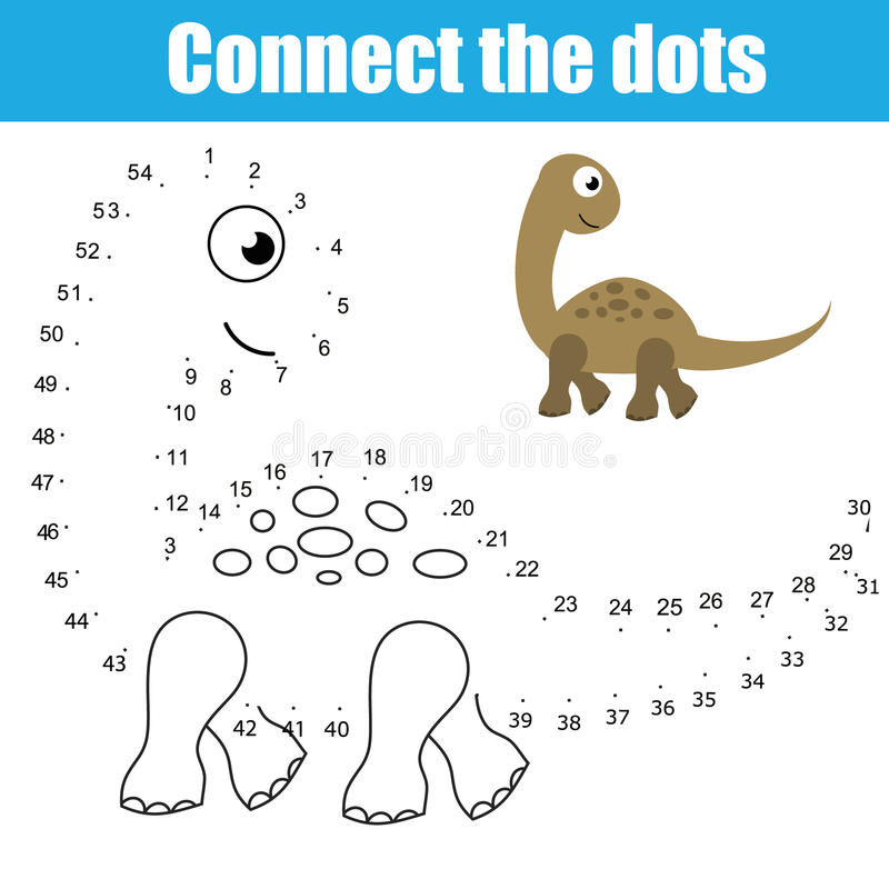 Conecte os pontos pelo jogo educacional das crianças dos números Atividade imprimível da folha Tema dos animais, dinossauro ilustração royalty free