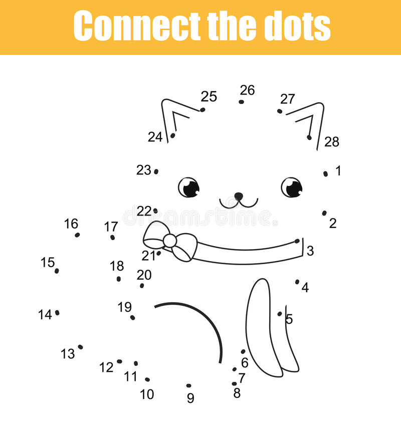 Conecte os pontos pelo jogo educacional das crianças dos números Atividade imprimível da folha Tema dos animais, gato ilustração stock