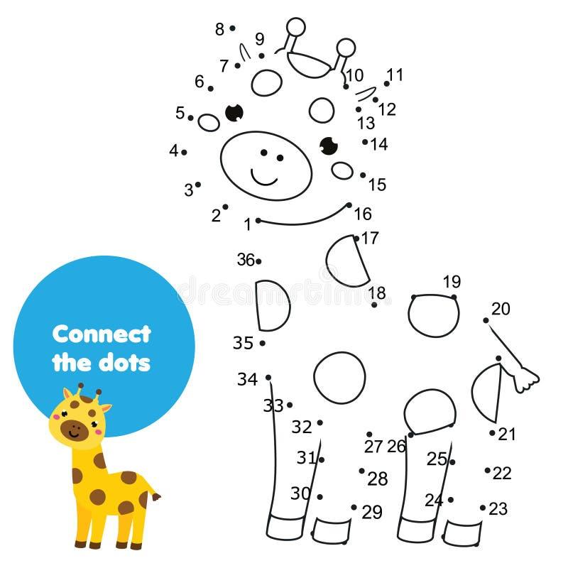 Conecte os pontos pelo jogo educacional das crianças dos números Tema dos animais, girafa dos desenhos animados ilustração royalty free