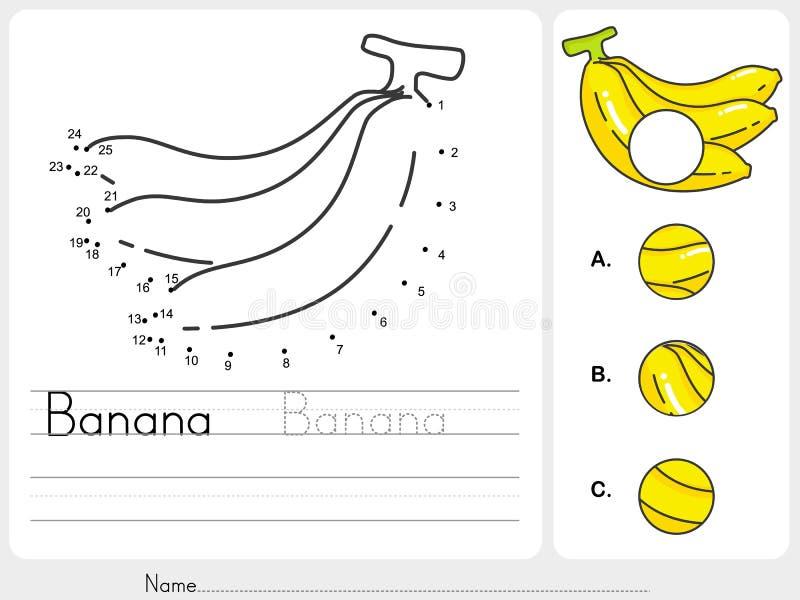 Conecte pontos da banana e encontre foto faltante ilustração do vetor