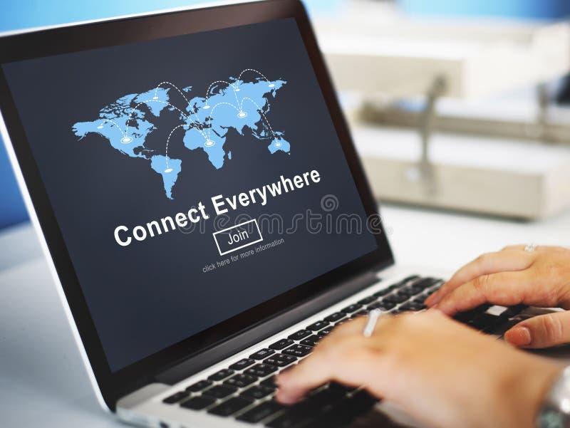 Conecte por todas partes la comunicación C de la interconexión de la globalización foto de archivo libre de regalías