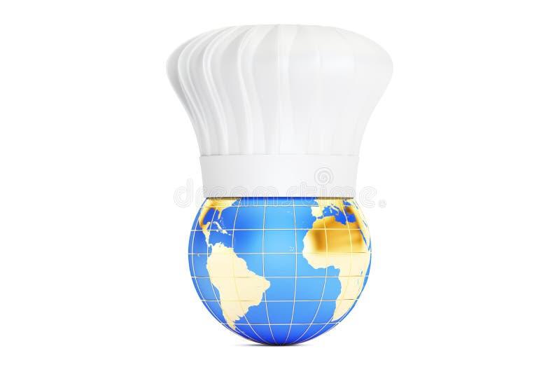 Conecte a tierra con el sombrero de los cocineros, concepto internacional de la cocina representación 3d ilustración del vector