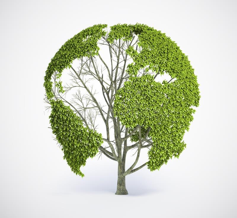 Conecte a tierra el árbol de la correspondencia ilustración del vector