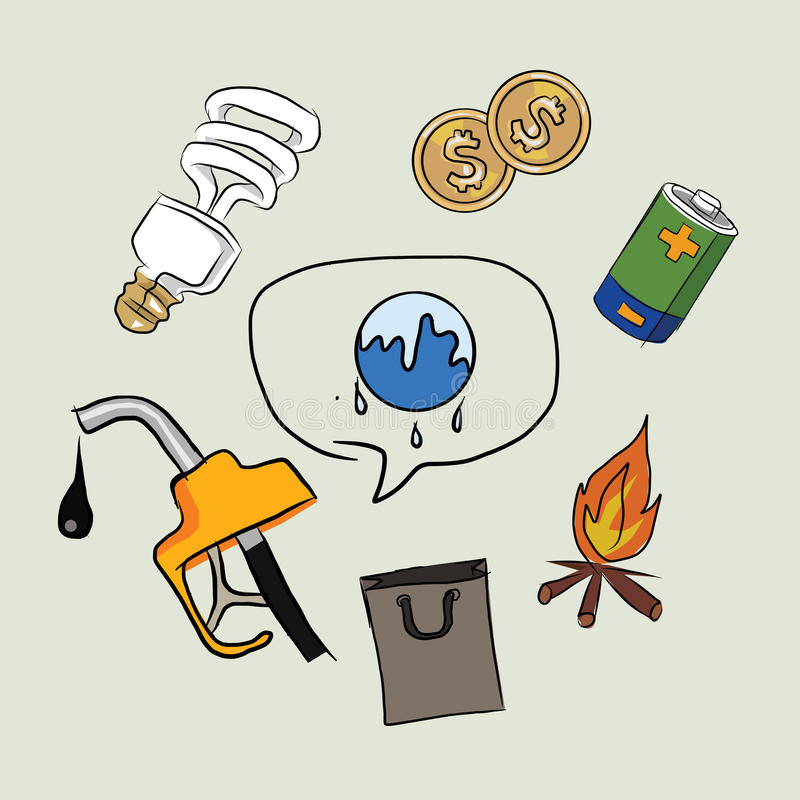 Conecte a tierra el bosquejo del dibujo de la lámpara del fuego del dinero de la electricidad del aceite del icono del calentamie libre illustration