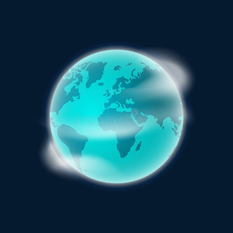 Conecte a tierra el ejemplo del vector del globo del planeta aislado en fondo azul marino ilustración del vector