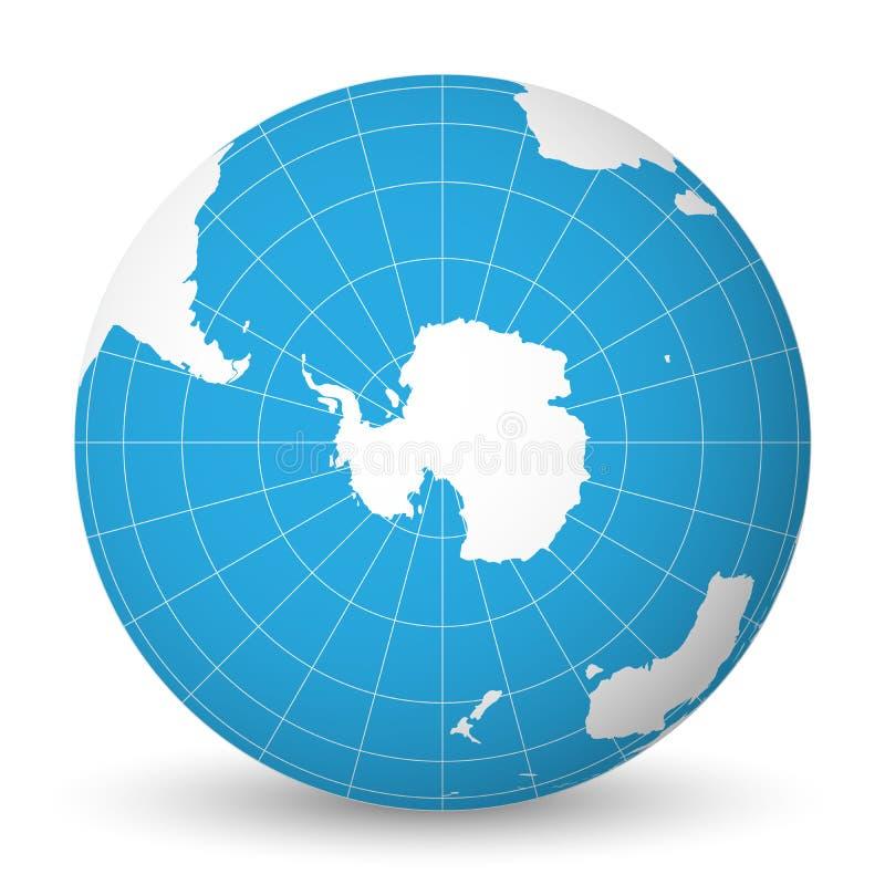 Conecte a tierra el globo con el mapa del mundo blanco y los mares y los océanos azules centrados en la Antártida con South Pole  ilustración del vector