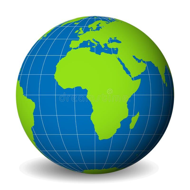 Conecte a tierra el globo con el mapa del mundo verde y los mares y los océanos azules centrados en África Con meridianos y paral stock de ilustración