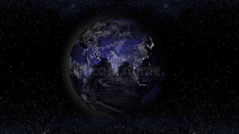 Conecte a tierra el planeta en la noche con áreas de luces urbanas, illustr de la opinión de Asia libre illustration