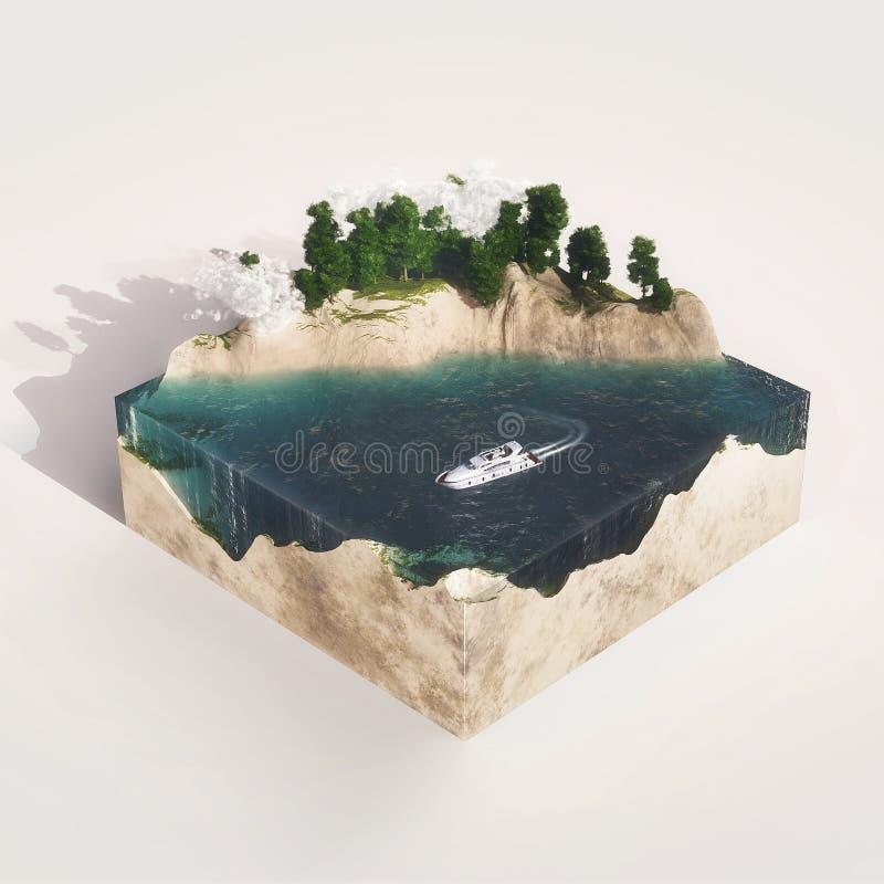 Conecte a tierra la sección representativa con agua, montañas, árbol ilustración del vector