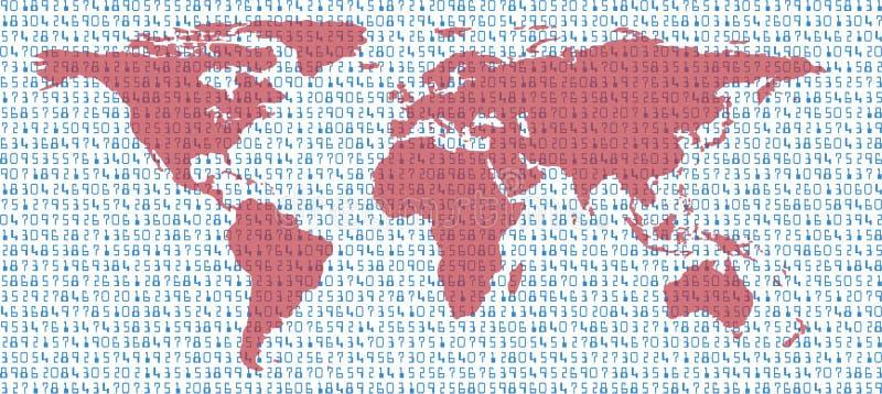 Conecte a tierra las estadísticas de la correspondencia de mundo de los datos en el mar de números libre illustration