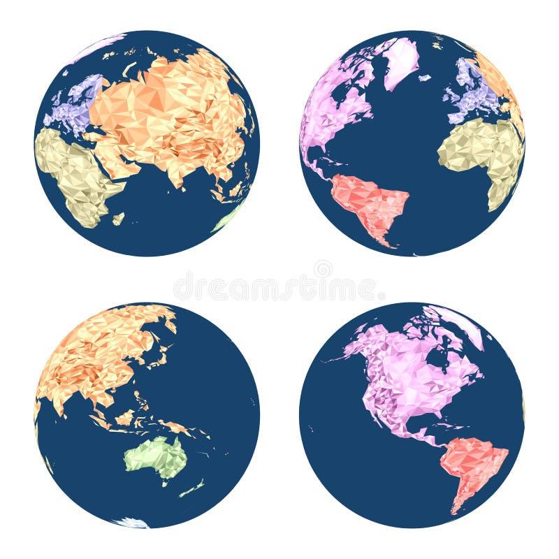 Conecte a tierra los globos en estilo poligonal coloreados por los continentes en diversas posiciones ilustración del vector