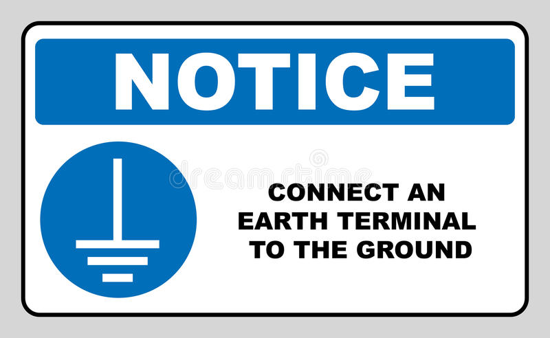 Conecte um terminal da terra ao sinal à terra Símbolo imperativo da observação no círculo azul, isolado da bandeira no branco Vet ilustração royalty free