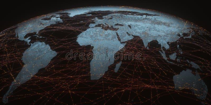Conectividad del mapa del mundo stock de ilustración