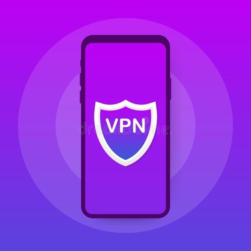 Conectividad del VPN Asegure el concepto de la conexión de red de soldado virtual Ejemplo isométrico del vector en los colores ul libre illustration
