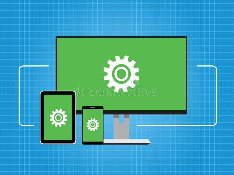 A conectividade conecta o fundo transversal do conceito do dispositivo da plataforma ilustração stock