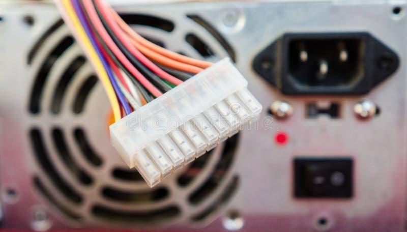 Conector de alimentação do PC fotografia de stock