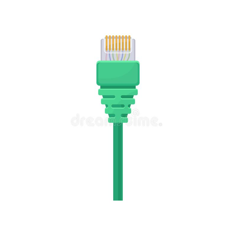 Conector de Ethernet con el cable verde Enchufe registrado Artículo para el ordenador y el equipo de datos de conexión Icono plan libre illustration