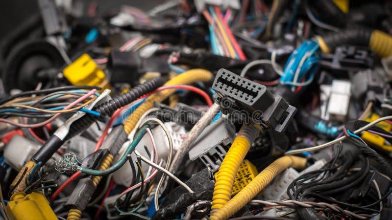 Conector do OBD em um grupo dos fios fotos de stock royalty free