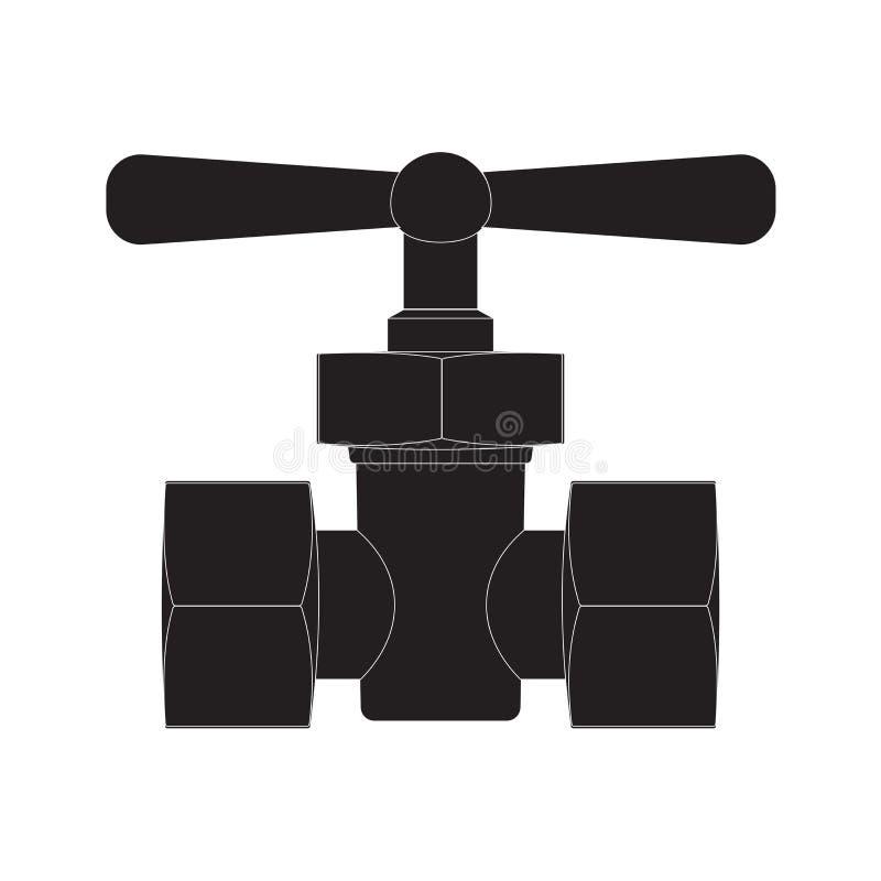 Conector negro del tubo con la válvula ilustración del vector