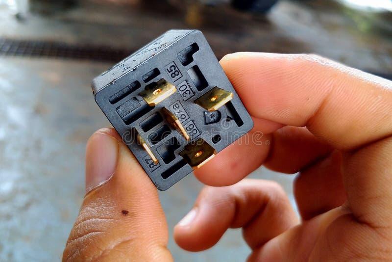 Conector terminal fora do relé à disposição foto de stock