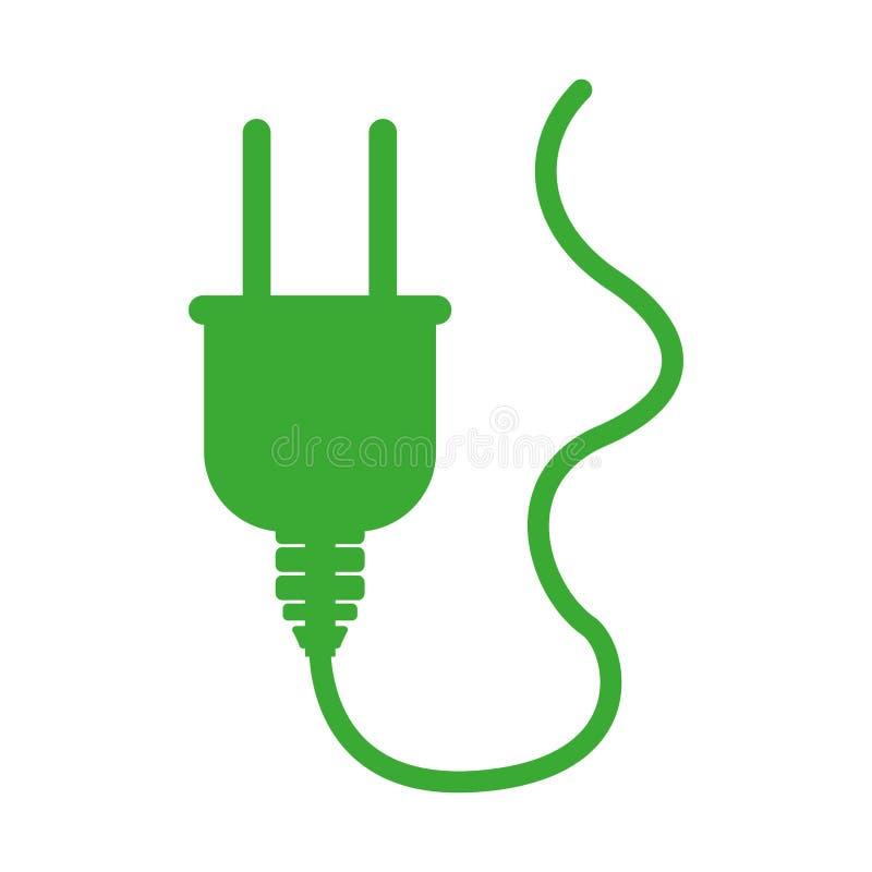 conector verde da tomada da silhueta com cabo ilustração do vetor
