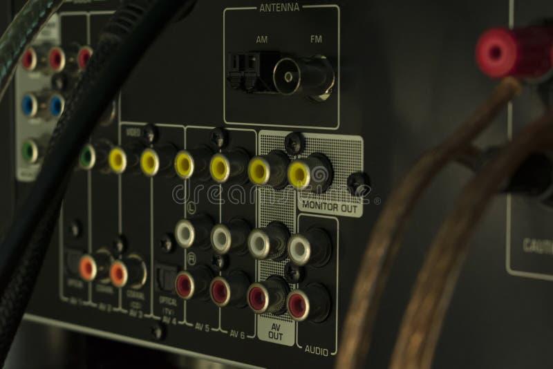 Conectores audios del receptor imágenes de archivo libres de regalías