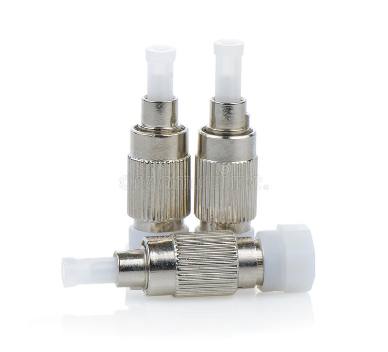conectores da fibra ótica, ST, SC e FC isolados no backgrou branco imagens de stock