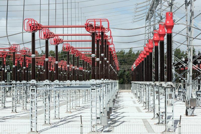 Conectores de estación de alto voltaje foto de archivo