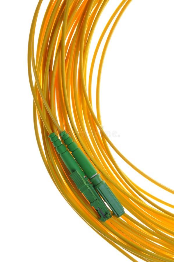 Conectores de fibra óptica de E2000/APC imágenes de archivo libres de regalías