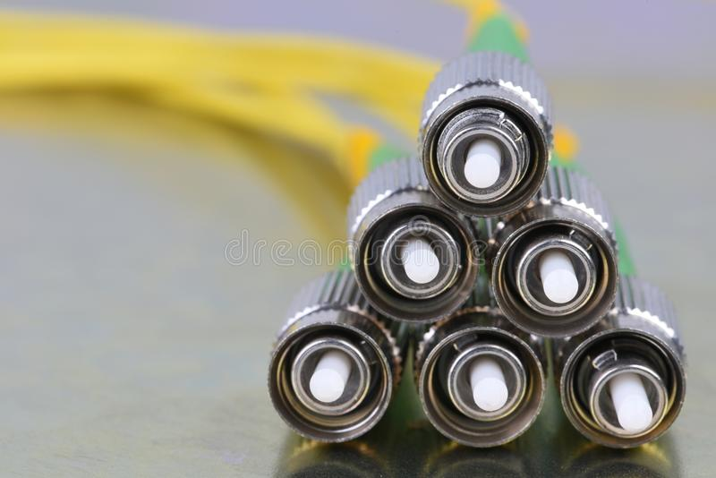 Conectores de la fibra óptica FC imagen de archivo libre de regalías