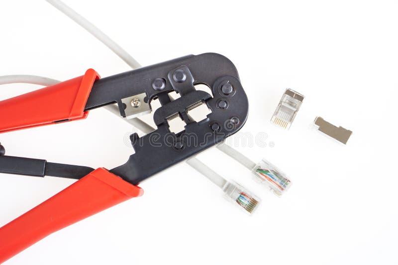 Conectores de la herramienta que prensa y de la red imagen de archivo