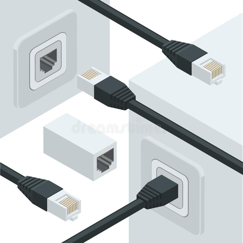 Conectores de los datos de Internet de la red ilustración del vector