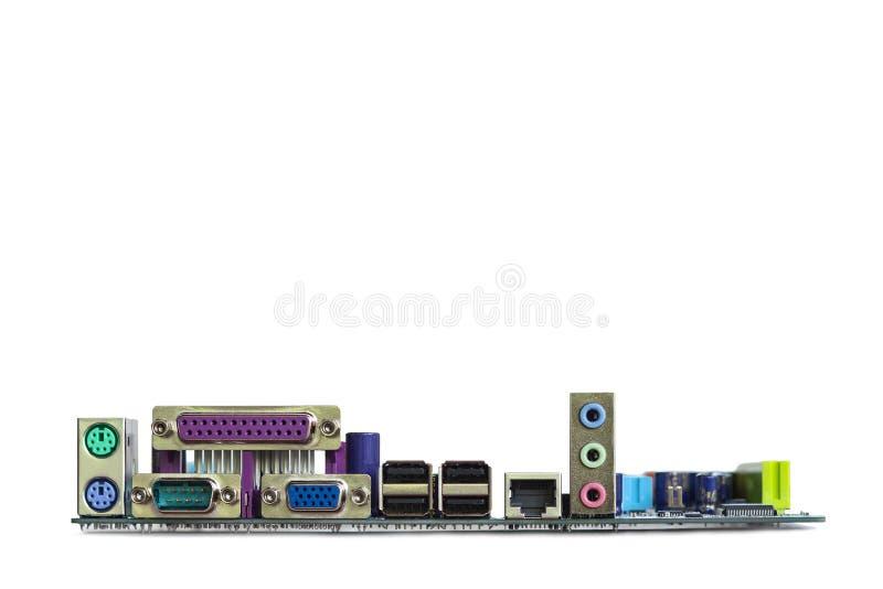 Conectores del puerto de la placa madre del ordenador, aislados en el backgr blanco imagen de archivo