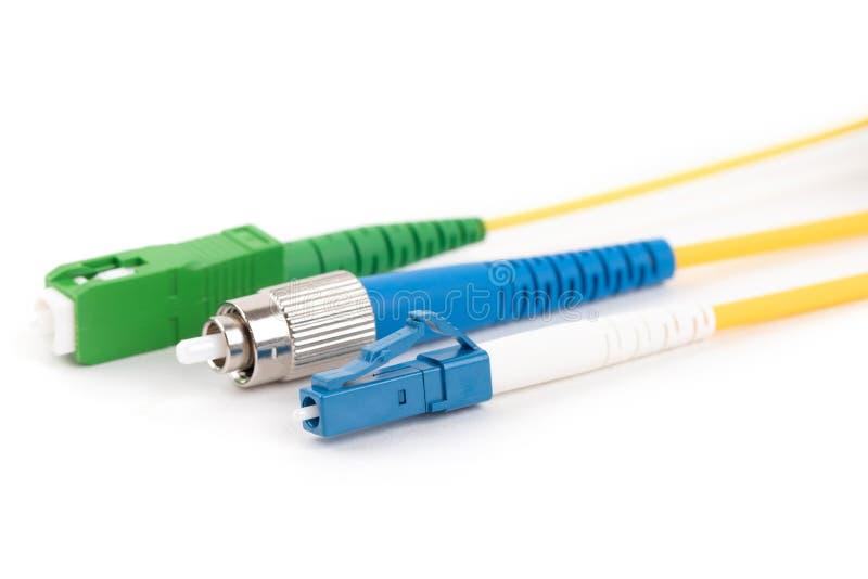 Conectores del solo modo de la fibra óptica imagen de archivo