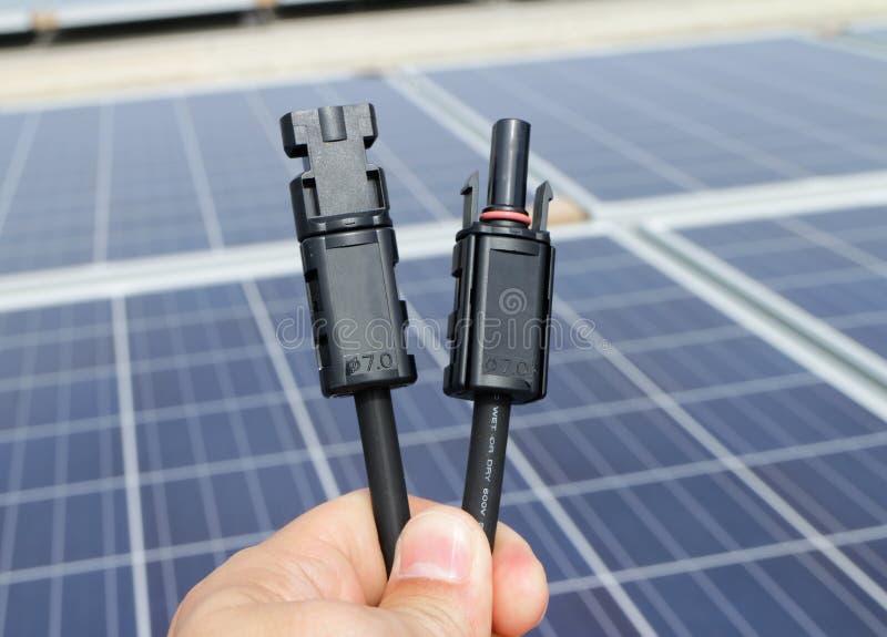 Conectores solares do picovolt fotografia de stock