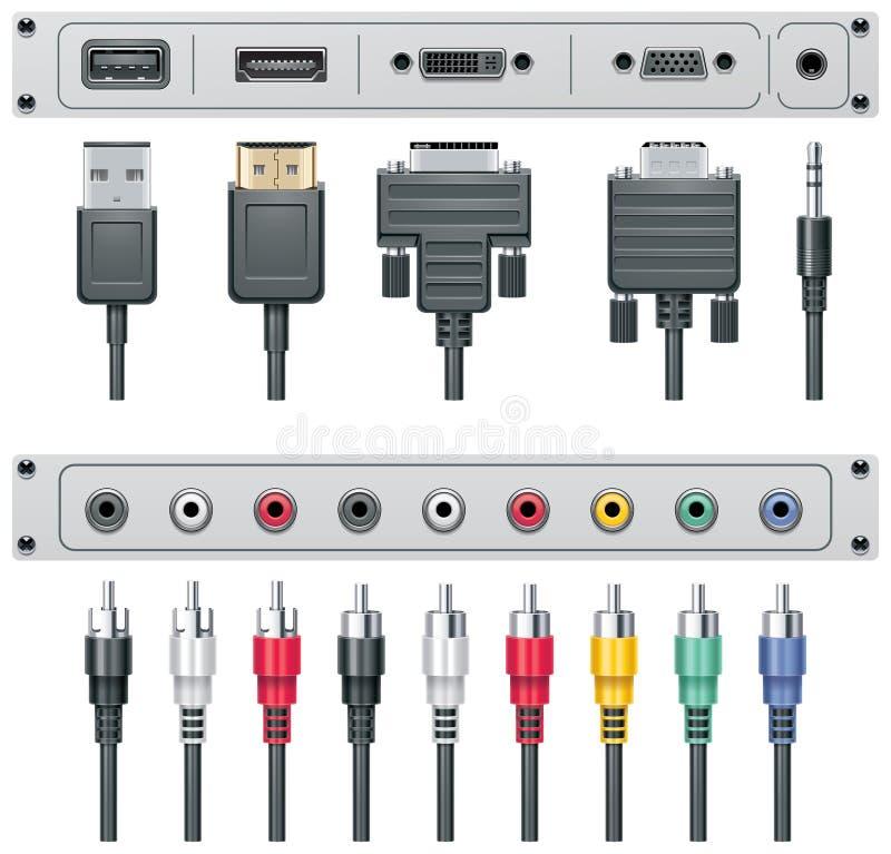 Conectores video e audio do vetor ilustração do vetor